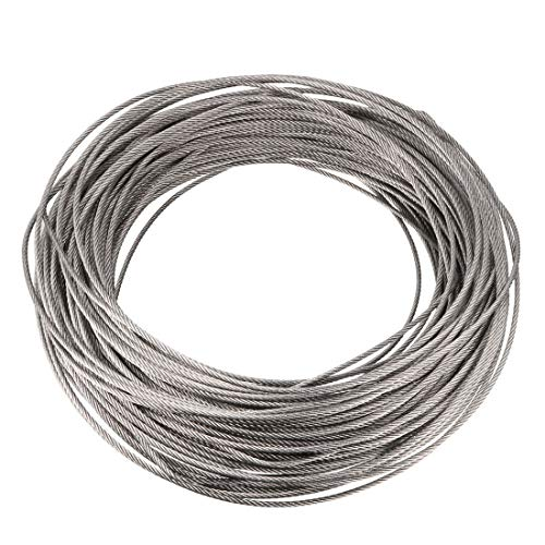 uxcell Stainless Steel Wire Rope Cable 2mm 0.08 inch Dia 154.2ft 47m Length 14 Gauge 304 Grade for Hoist Lifting Grinder Pulley Wheel