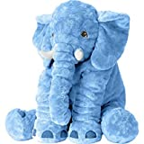 Large Size Super Soft Plush Elephant Doll Pillow, Stuffed Animal Plush Toy for Kids, Blue