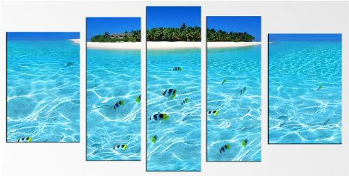 Startonight Glass Wall Art Acrylic Decor the Island, and a Contemporary Clock Set of 5 Total 35.43 X 70.87 Inch 100% Original Beach Artwork the Ultimate Wall Art by Glass Wall Art