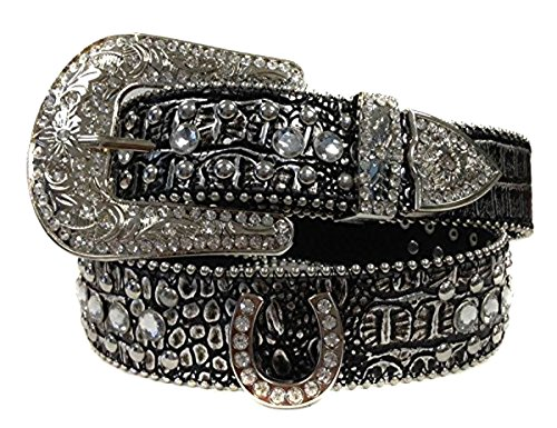 - Deal Fashionista Metallic Metal Shinning Tone Horse shoe Western Rhinestone Removable Buckle Belt