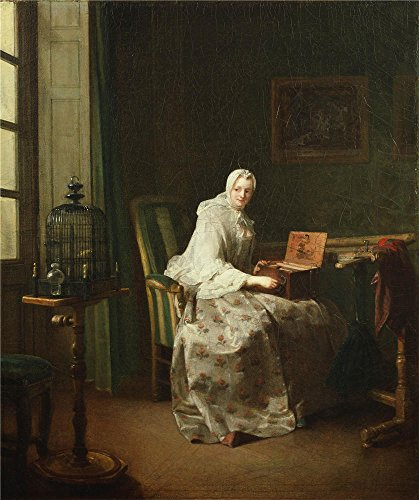 Oil Painting 'Jean-Baptiste-Simeon Chardin - Lady With A Bird-Organ, 1753' 10 x 12 inch / 25 x 30 cm , on High Definition HD canvas prints is for Gifts And Bar, Hallway And Laundry Room decor, pop