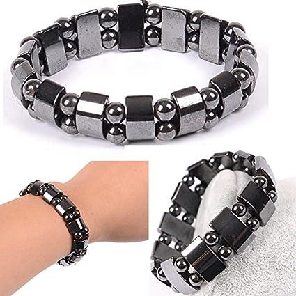 2PCS Fashion Black Magnetic Hematite Healing Mens Womens Loose Beads Bracelet