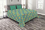 Lunarable Sea Horse Bedspread Set King Size, Colorful Fish and Seashells in Cartoon Style Underwater Life Sketch, Decorative Quilted 3 Piece Coverlet Set with 2 Pillow Shams, Yellow Pink Sea Green