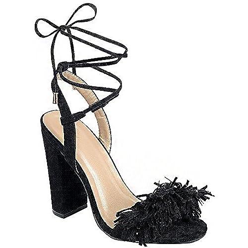 5960c7c840844 Women's Open Toe Summer Fringe Tie Up Chunky Covered Heel Heeled ...