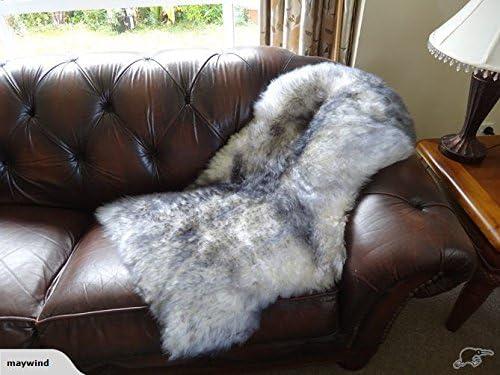 Starose New Zealand Genuine New Zealand Single Pelt Sheepskin Rug White Grey Tipped