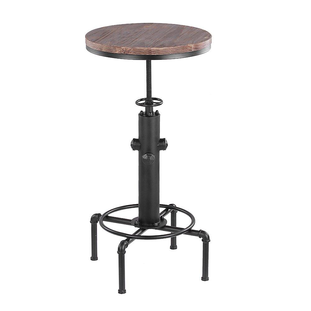 IKAYAA Pinewood Top Tavola Rotonda Pub Tavolo Bistrot Regolabile Adattabile Tavolo Bistro Tavolo Industriale Pipe Cucina Tavolo da Pranzo