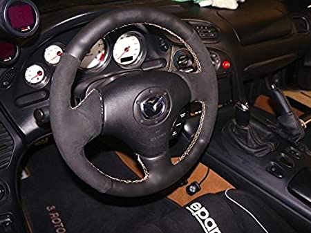 Amazon.com: RedlineGoods steering wheel cover compatible with Mazda Miata NB 1998-05. Black leather-Tan thread: Automotive