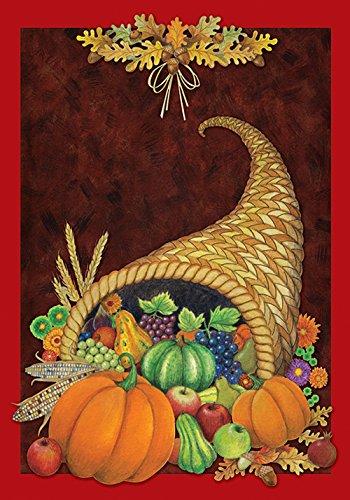 (Toland Home Garden Cornucopia 12.5 x 18 Inch Decorative Fall Autumn Harvest Thanksgiving Garden Flag)
