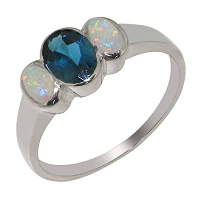 Sizes J to Z 925 Sterling Silver Natural Aquamarine Womens Solitaire Ring