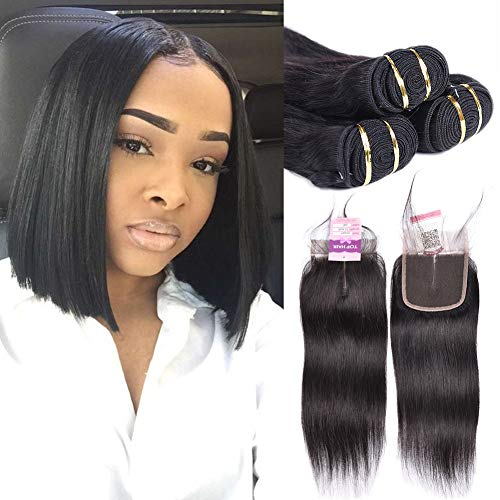 Top Hair 8A Brazilian Straight Hair With Closure Virgin Remy Hair 3 Bundles With Lace Closure (4×4) Human Hair Weave for Bob Unprocessed Virgin Hair Weft(8 8 8+10
