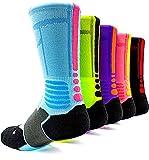 JIYE Elite Basketball Socks 5 Pack|Dri-Fit Athletic Crew Sport for Boy Girl Men Women