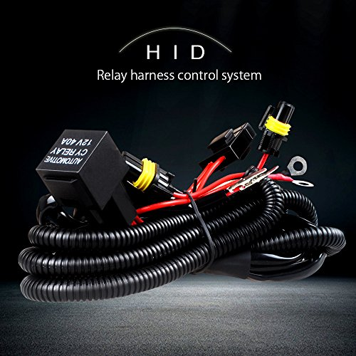Hid Wiring Harness (9006/H11 HID Conversion Kit Relay Wiring Harness with 12V 40A Relay 30A Fuse and 18AWG support 35W xenon ballast / HID Xenon Relay Harness Solves Issues with Poor Electrical Systems)