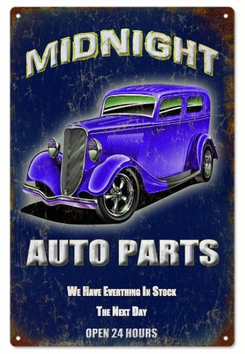 Extra Large Reproduction Midnight Auto Parts Hot Rod Garage Art Sign