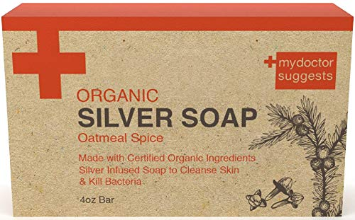 - Organic Exfoliating Silver Soap - Made with Certified Organic Ingredients. Silver Infused Soap to Cleanse Skin & Kill Bacteria. Made with Real Oatmeal 4oz Bar