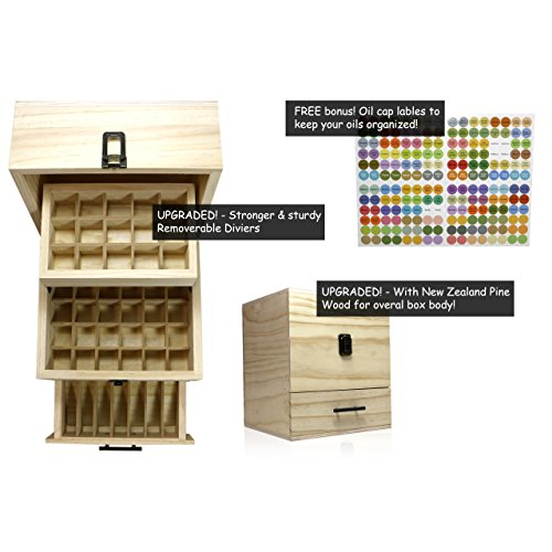 SXC Essential Oil Wooden Box Multi-Tray Organizer, 3 Tiers Storage Case Protects 45 5-15 mL Essential Oil Bottles and 14 10 mL Roller Bottles for Travel and Presentations by SXC (Image #2)