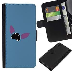 // PHONE CASE GIFT // Moda Estuche Funda de Cuero Billetera Tarjeta de crédito dinero bolsa Cubierta de proteccion Caso Sony Xperia Z2 D6502 / Minimalist Poke Face /