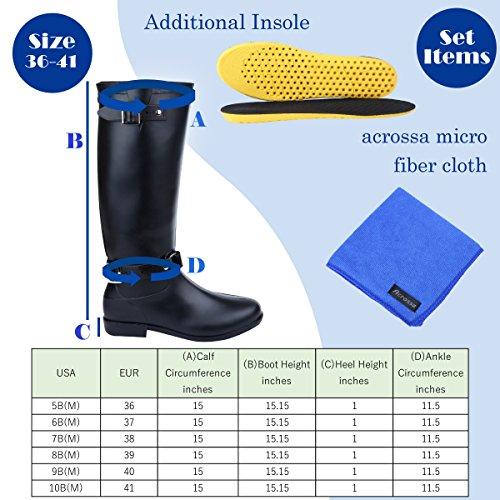 acrossa Womens Black, Mid-Calf Rain Boots with Micro Fiber Cloth, Insole Black