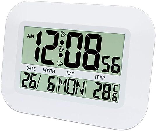 FPRW Reloj de Pared LED Digital, Reloj Despertador con retroiluminación LED Grande, Reloj de Escritorio con termómetro de Calendario, Reloj de Pared Digital: Amazon.es: Hogar