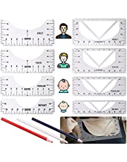 DailyTreasures 11Pack New Upgrade T-Shirt Alignment Ruler Set, 4Pack 2-in-1 (V & U Neck) T-Shirt Alignment Tool+4Pack Crew Neck Tshirt Ruler Guide+3Pcs Mark Pencli for Fashion Sewing Center Design