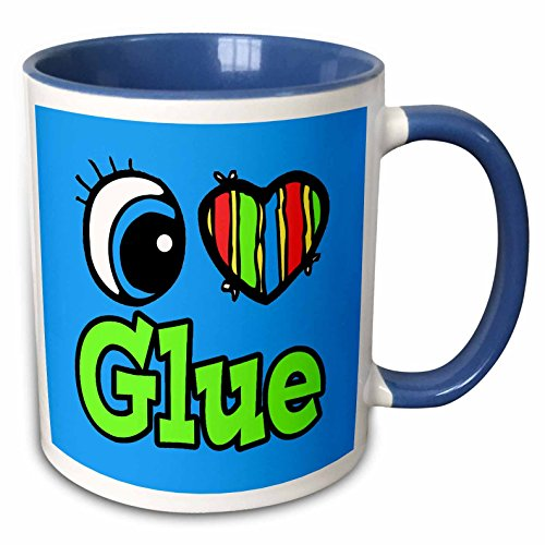 (3dRose Dooni Designs Eye Heart I Love Designs - Bright Eye Heart I Love Glue - 15oz Two-Tone Blue Mug)