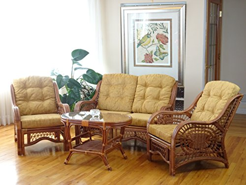 Malibu Lounge Set of 4: 2 Natural Rattan Wicker Chairs, Loveseat with Light Brown Cushion and Coffee Table w/Glass Handmade, Colonial