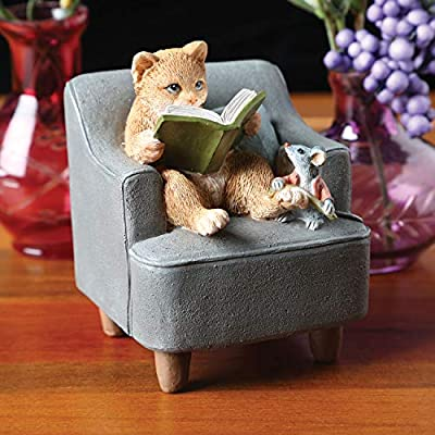 "ART & ARTIFACT Cat Reading Book to Mouse Sculpture Home Decor Figurine - 3 1/2"" Hand Painted"