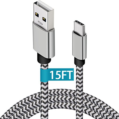 V35 Port - Galaxy S9 Charger, 15ft Extra Long USB Type C Cable, Durable Nylon Braided Fast Charging C Cord, Braided USB C to USB A for Samsung Galaxy S9/S8/S8+, LG V30/V35/G7, Google Pixel 2/XL, Nintendo Switch