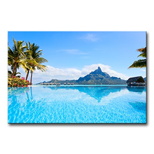 Wall Art Decor Poster Painting On Canvas Print Pictures Beautiful Otemanu Mountain On Bora Bora Island Beach with Palm Tree Seascape Tree Framed Picture for Home Decoration Living Room Artwork