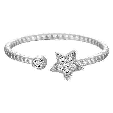 Qiandi Elegant Lucky Crystal Star Ring For Women Girls Birthday Gift
