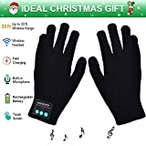 Bluetooth Gloves, Wireless Bluetooth Gloves, Winter Gloves Touch Screen with Built-in Stereo Speakers, Removable Headphones, Gifts for Thanksgiving&Christmas (Black)