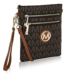 Mkf Crossbody Bag For Women Removable Adjustable Strap Vegan Leather Wristlet Designer Messenger Purse Brown