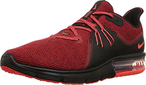 Nike Men's Air Max Sequent 3 Running Shoes (10 D(M) US, Black/Total Crimson/University Red) (Cheap Nike Air Max For Sale Uk)