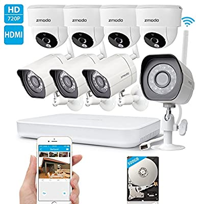 Zmodo 1080p HD Digital NVR System 8 Channel Wireless 1.0 Megapixel 4 Outdoor Camera 4 Indoor Camera 500GB Hard Drive Pre-installed Night Vision Motion Detection DIY Kit from Zmodo