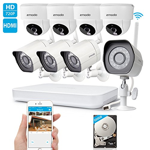 Zmodo-1080p-HD-Digital-NVR-System-8-Channel-Wireless-10-Megapixel-4-Outdoor-Camera-4-Indoor-Camera-500GB-Hard-Drive-Pre-installed-Night-Vision-Motion-Detection-DIY-Kit
