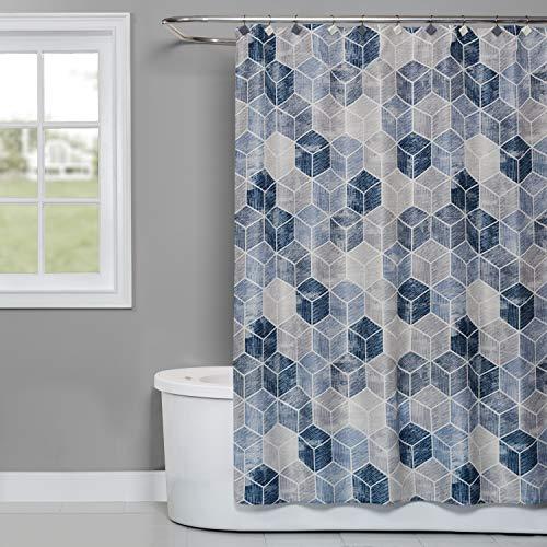 SKL HOME by Saturday Knight Ltd. Cubes Fabric Shower Curtain, Blue (Blue Retro Shower Curtain)