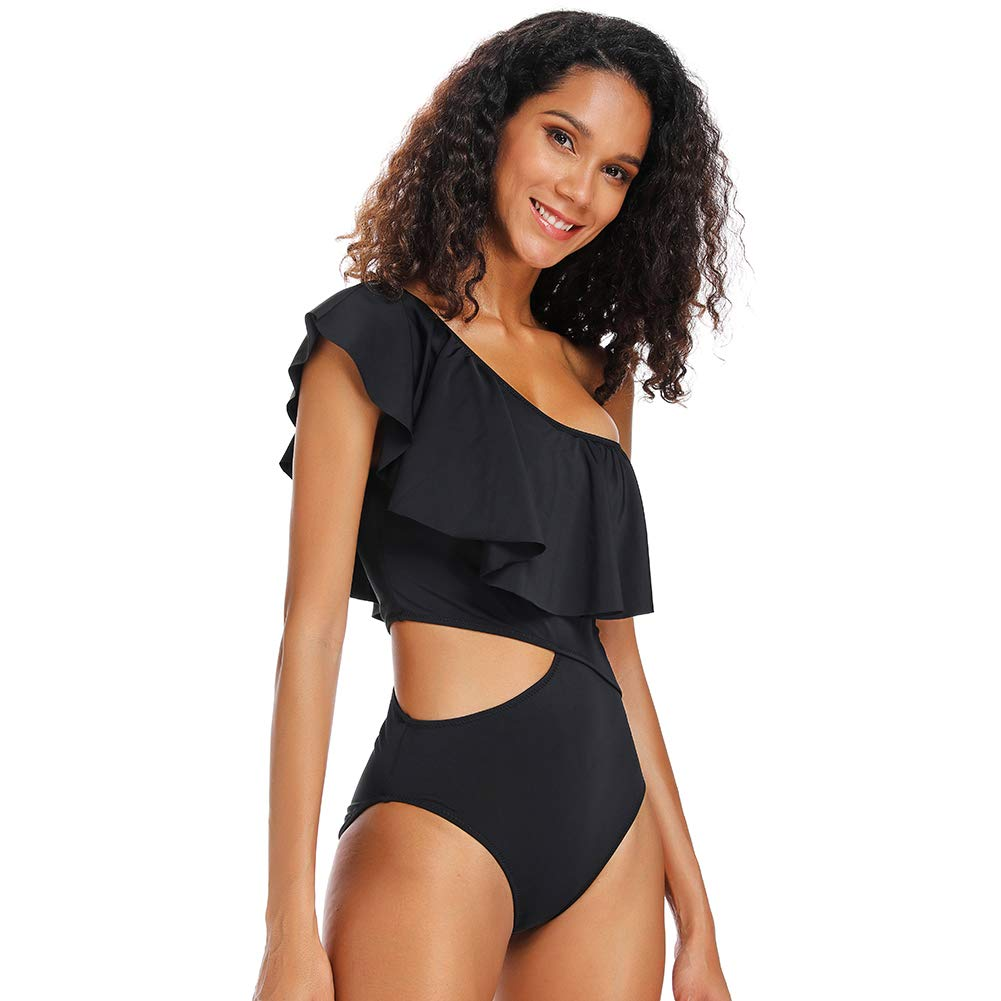 sports shoes on wholesale sells Dixperfect Women's One Piece Swimsuits One Shoulder Ruffle Monokini Bathing  Suit Cut Out Side