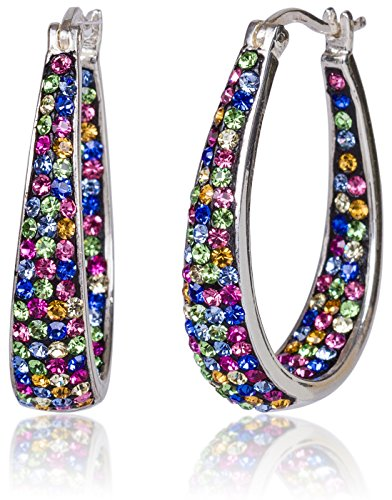 SilverLuxe 925 Sterling Silver Genuine Multi Colored Crystal Hoop Earring