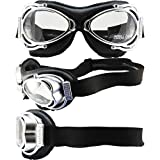 Nannini Streetfighter Padded Motorcycle Goggles Hand-Sewn Black Leather Frames Clear Anti-Fog Lenses