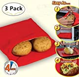 (3 Pack) Microwave Potato Bag, Keklle Corn, Day-old bread, Tortillas Cooker Bag, Washable and Reusable, Red