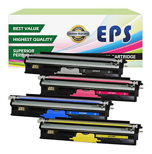 EPS Compatible Replacement for Konica Minolta Magicolor 1600W, 1680MF, 1690MF,High Yield Pack of 4 Remanufactured toner cartridges(A0V30HF,A0V30CF,A0V306F,A0V301F)