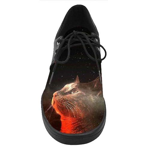 dalliy Custom Galaxy gato Hombres de encaje hasta zapatos de Casual zapatillas: Amazon.es: Zapatos y complementos