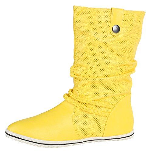 Damen Stiefeletten Schlupfstiefel Flach Stiefel Leder-Optik Metallic Schuhe Boots Trendy Übergangsschuhe Flandell Gelb Amares