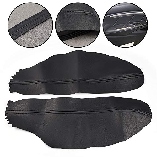 (G-PLUS 2pcs Leather Front Door Panels Armrest Cover Replacement Fit for Honda Accord 2008 2009 2010 2011 2012 Coupe Black)