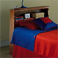 Pemberly Row Queen Wood Bookcase Headboard in Maple