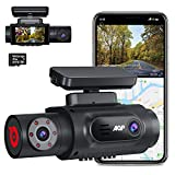AQP dual dash cam, front camera 4K dual dashcam 2560P+ 1080P, with industrial-grade 32G SD card, built-in WIFI GPS, dual Sony sensor, infrared night vision, parking monitoring, G sensor, and hard wire (Color: Black)