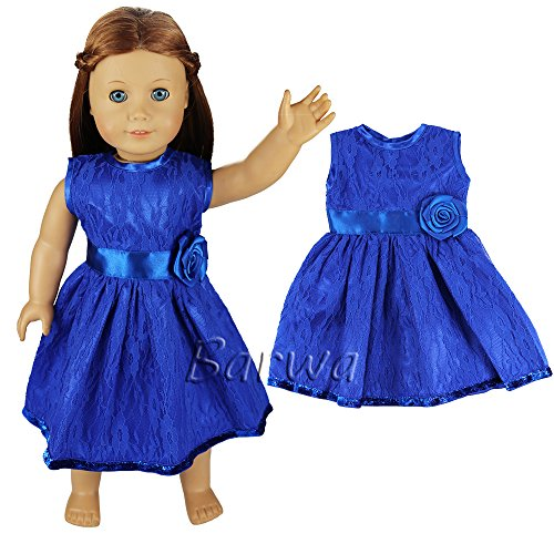 Barwa Handmade Clothes Dress for American Girl Doll Blue Lace Outfits Casual Summer Dress