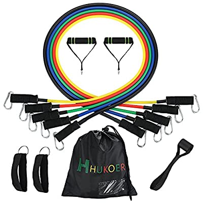 HUKOER 11pcs Resistance Bands Set - Elastic Exercise Latex Fitness Equipment for Resistance Training, Physical Therapy, Home Workouts