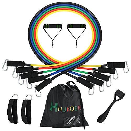 HUKOER 11pcs Resistance Bands Set - Elastic Exercise Latex Fitness Equipment for...