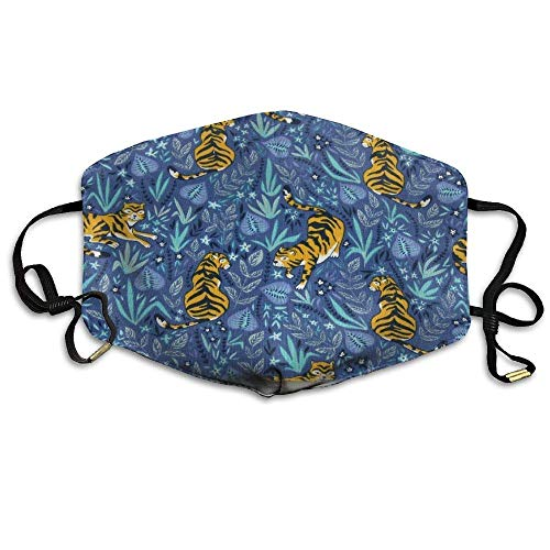 Pattern Tigers On A Dark Blue Anti Dust Breathable Face Mouth Mask Man Woman