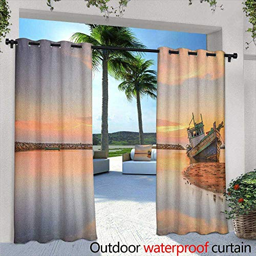 (Marilds Nautical Outdoor Window Curtains Vessel on Coast Long Exposure Dramatic Sunset Photo Solitude Lonely Twilight Theme Grommet Curtains for Bedroom 84